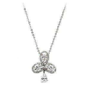 Silver sparkling clover pendant crystal necklace